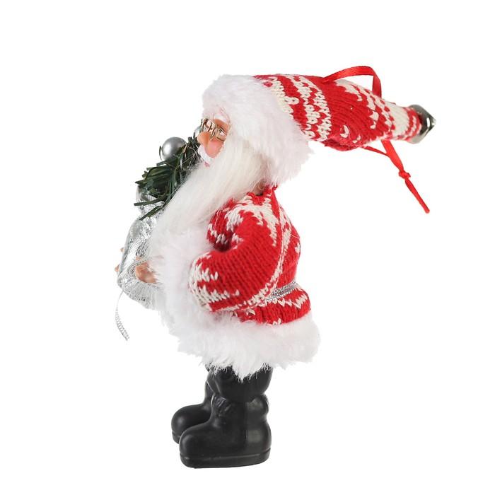 """Дед Мороз """"В красной шубке с серебристым мешком"""" 10*14 см"""