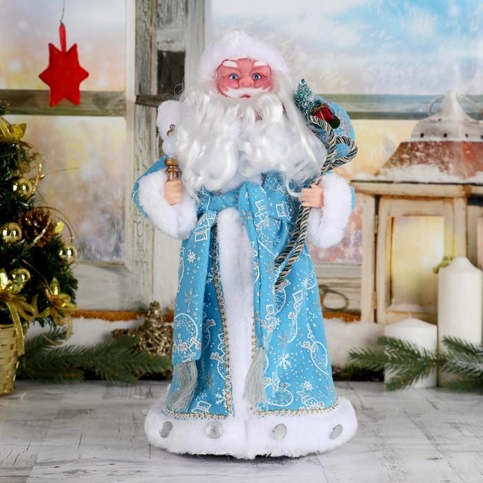 """Дед Мороз """"В синей шубке с подарками"""", 38 см, двигается, с подсветкой"""