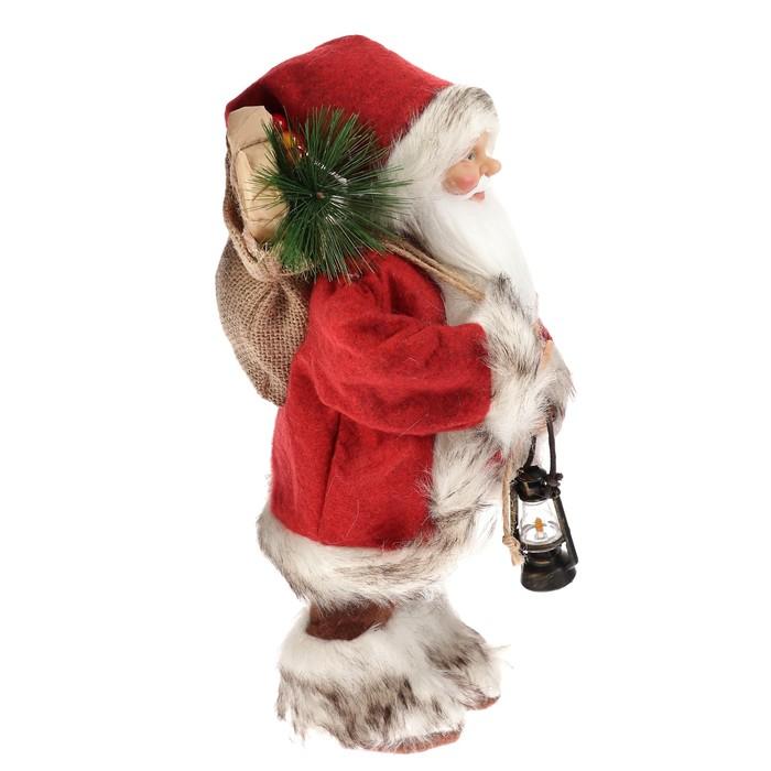 Дед Мороз в красной шубке с фонариком и мешочком 30 см