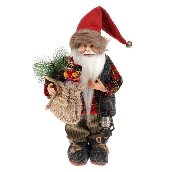 Дед Мороз в клетчатой шубке с фонариком и мешком 30 см