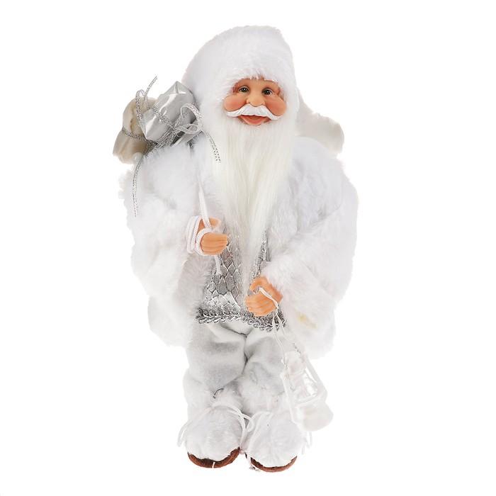 Дед Мороз в белой шубке с фонариком и подарками 30 см