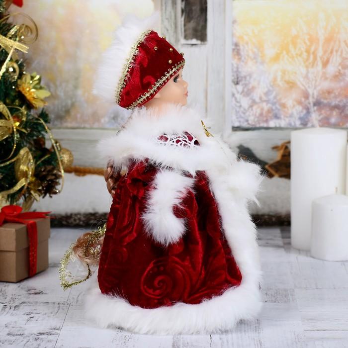"""Снегурочка """"Шик"""", в красной шубке с мехом, двигается, без музыки"""
