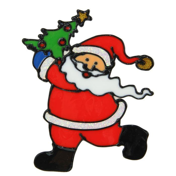 "Наклейка на стекло ""Дед Мороз в колпаке с ёлкой"""