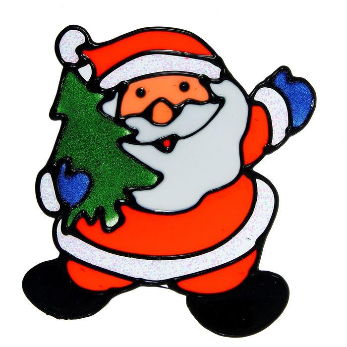 "Наклейка на стекло ""Дед Мороз с ёлкой"" (переливающаяся кайма)"