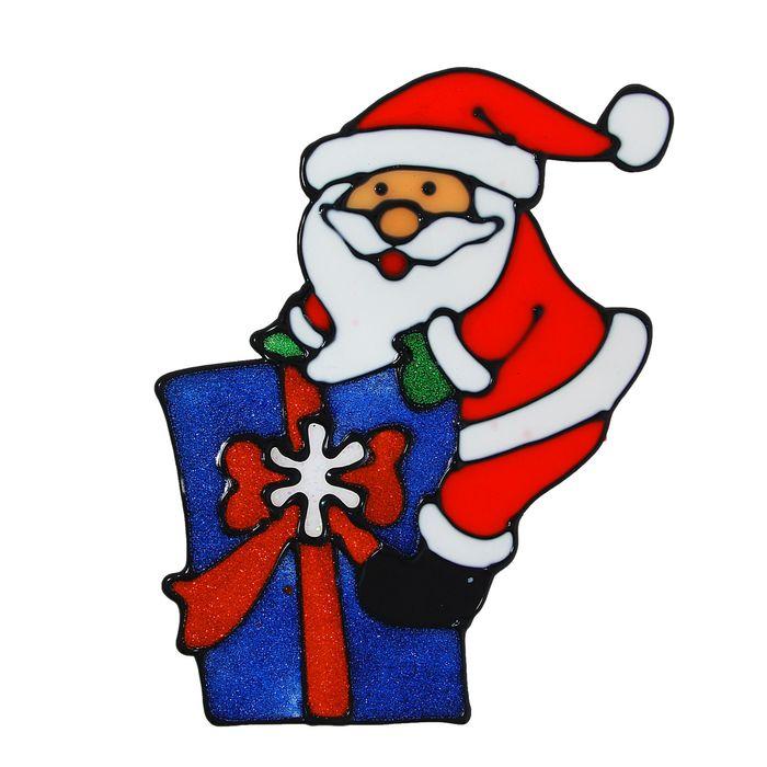 """Наклейка на стекло """"Дед Мороз на подарке"""""""