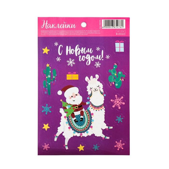 Бумажные наклейки «Санта уже мчится», 14 × 21 см