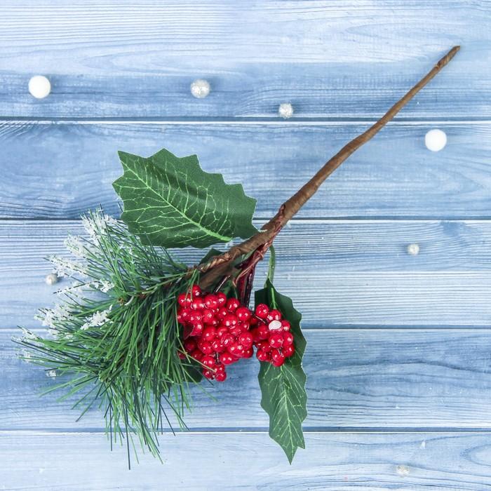 """Декор """"Зимние грезы"""" 20 см калина красная шишка в снегу"""