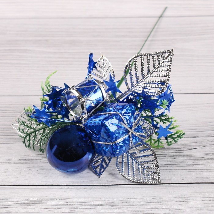 """Декор """"Зимняя сказка"""" 15 см шарик подарок бубенчик, синий"""