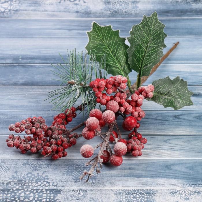 """Декор """"Зимние грезы"""" 24 см калина красная ягодки в снегу"""