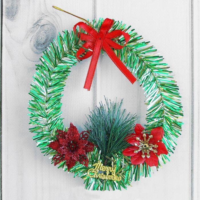 Венок новогодний d-13 см с цветами