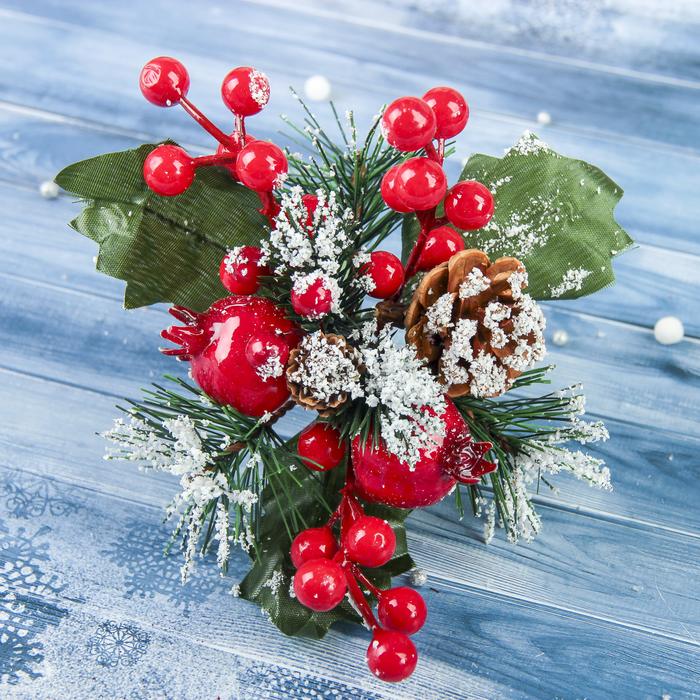 """Декор """"Зимние грезы"""" 15 см гранат ягодки красные"""