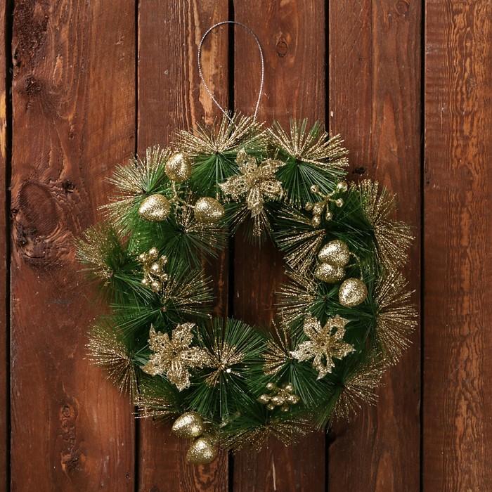 Венок новогодний d-20 см зелёный с золотыми цветами