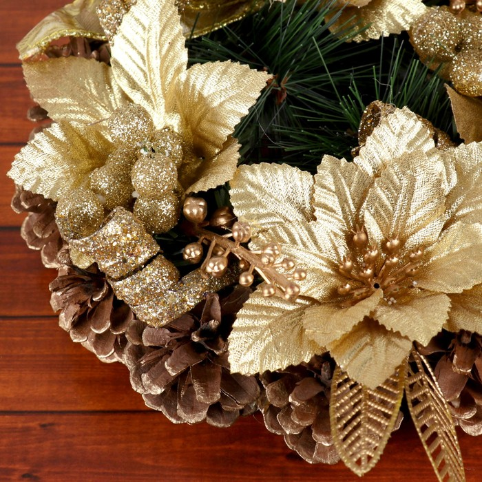 Венок новогодний d-20 см с цветами и лентами, золото