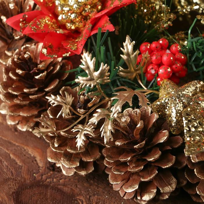 """Венок новогодний d-29 см """"Шишки"""" золотисто-красные цветы"""