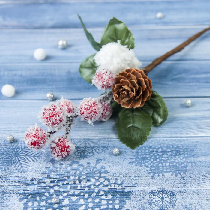 """Декор """"Зимние грезы"""" 18 см красные ягодки шишка снежок"""