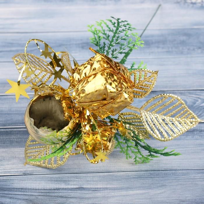 """Декор """"Зимняя сказка"""" 15 см шарик подарок бубенчик, золото"""