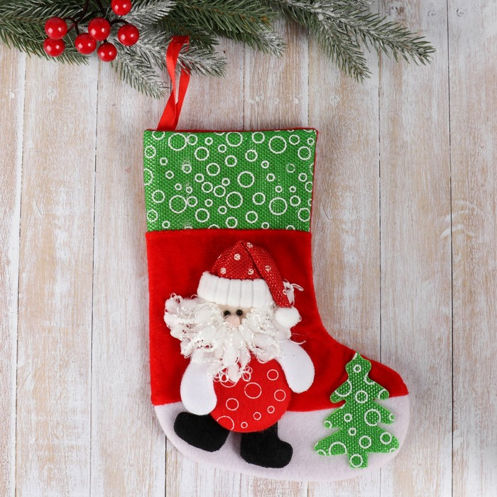 """Носок для подарков """"Дед Мороз с ёлочкой"""" 19*26 см"""