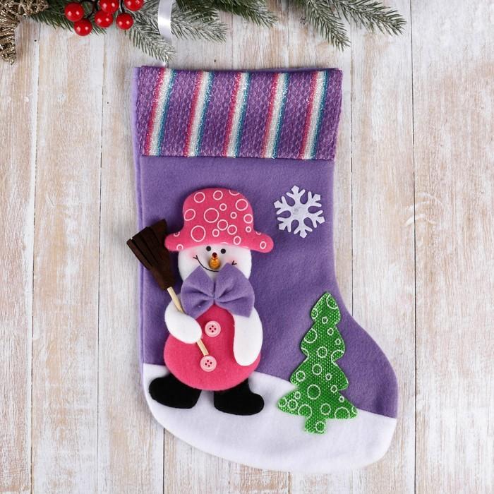 """Носок для подарков """"Снеговик с метлой"""" 34*22 см"""