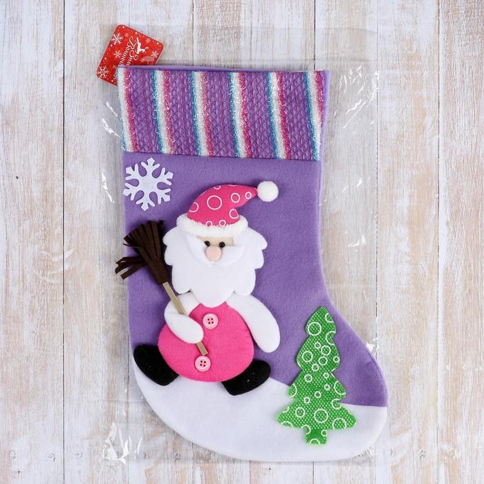 """Носок для подарков """"Дед Мороз с метлой"""" 34*22 см"""