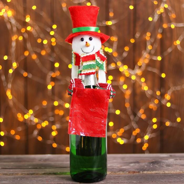 "Одежда на бутылку ""Снеговик"" с конвертом для пожеланий"