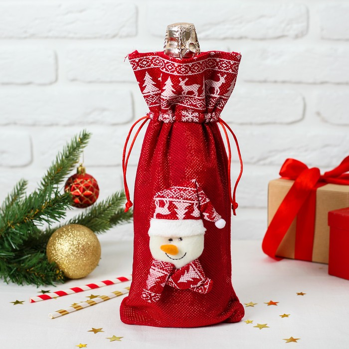 "Одежда на бутылку ""Снеговик колпак и шарф с рисунком"" на завязках   M10424B"