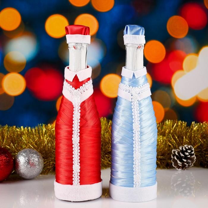 """Костюмы для шампанского """"Дед Мороз и Снегурочка""""с кружевом премиум 2 шт,цвет красный,голубой"""