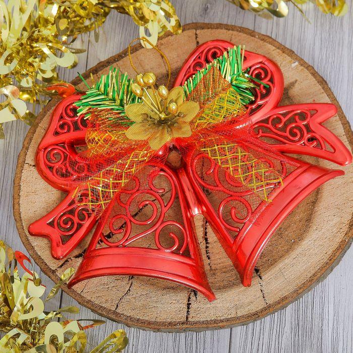 """Украшение новогоднее """"Колокольчики"""" с цветком, красный 20*13 см"""