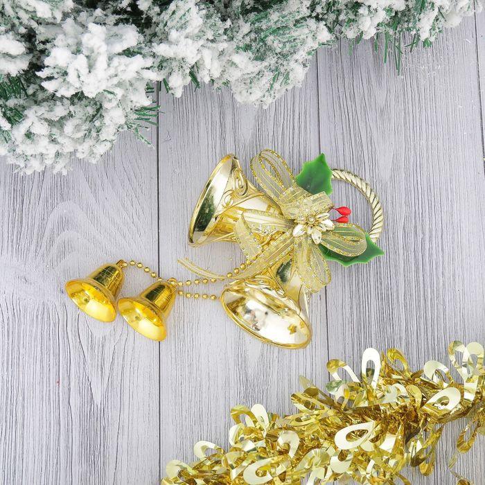 """Украшение новогоднее """"Колокольчики с ленточкой и цветком"""" 12*22 см"""