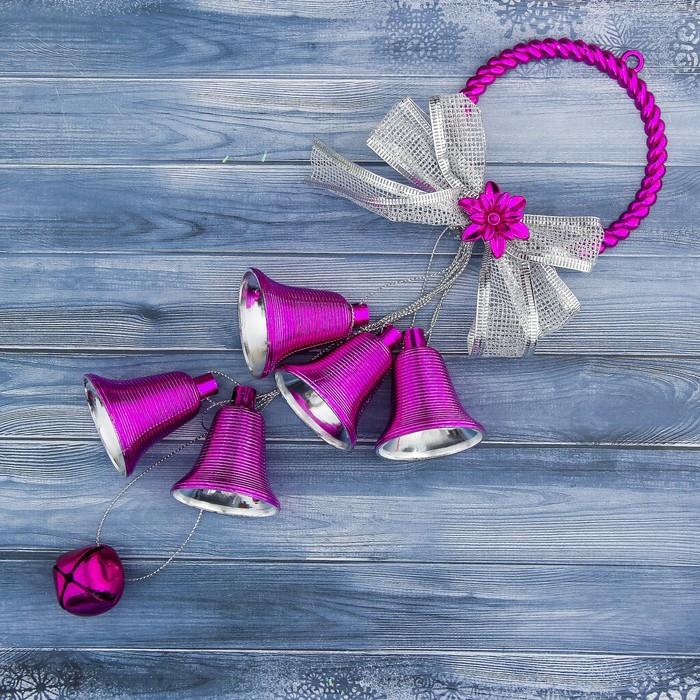 """Украшение новогоднее """"Колокольчик"""" бубенчик и ленточка 9*31 см, малиновый"""