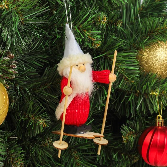 """Игрушка-подвеска """"Дед мороз лыжник"""" 4×9,5×14 см"""