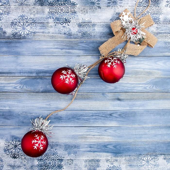 """Украшение новогоднее """"Красное диво"""" белые снежинки 6*34,5 см"""
