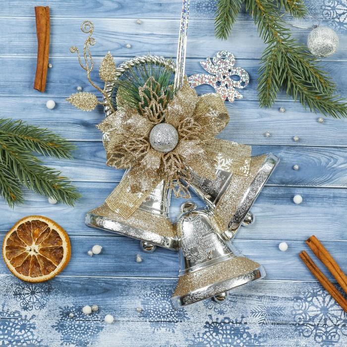 """Украшение новогоднее """"Колокольчики"""" цветок 18,5*24 см, коричневый"""