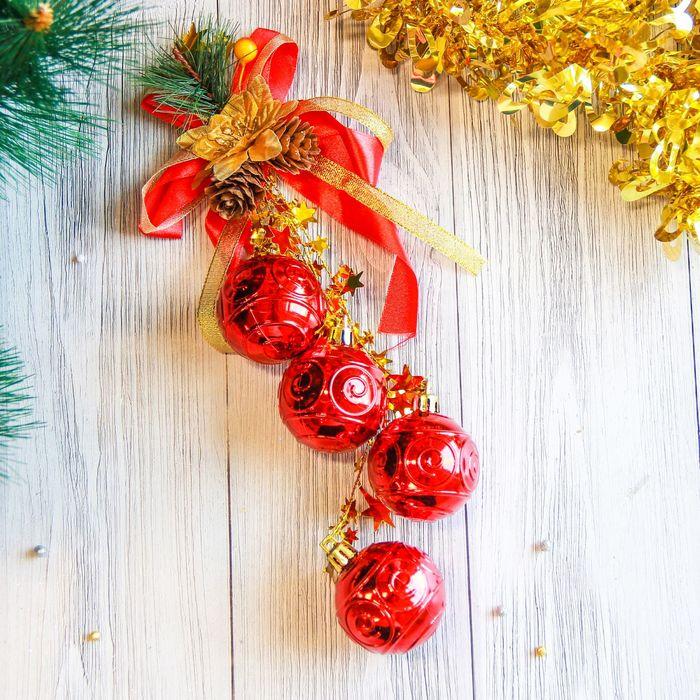"""Украшение новогоднее """"Шары с красной ленточкой и шишкой"""" 4,5*25 см"""