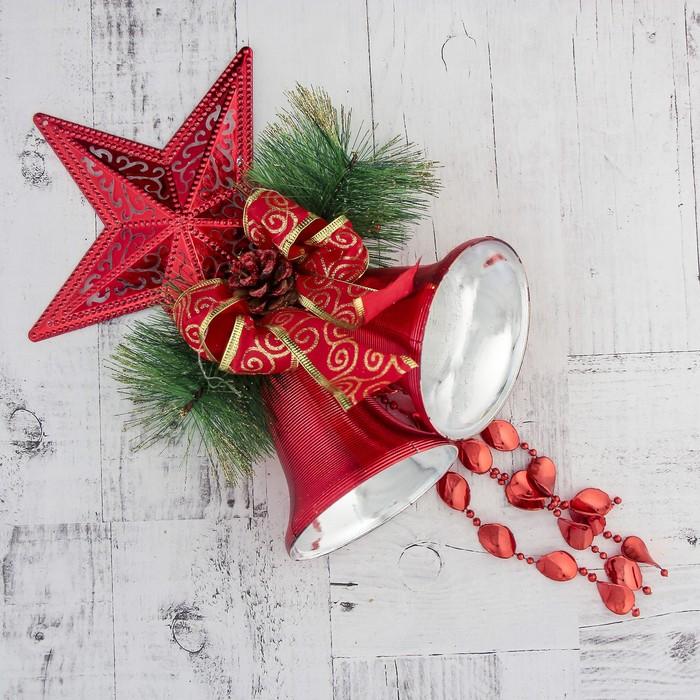 """Украшение новогоднее """"Колокольчик"""" звезда, шишка и бусы 20*43 см, красный"""
