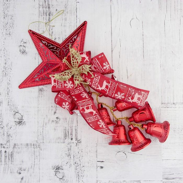 """Украшение новогоднее """"Колокольчик"""" звезда, бабочка и лента 20*35 см, красный"""