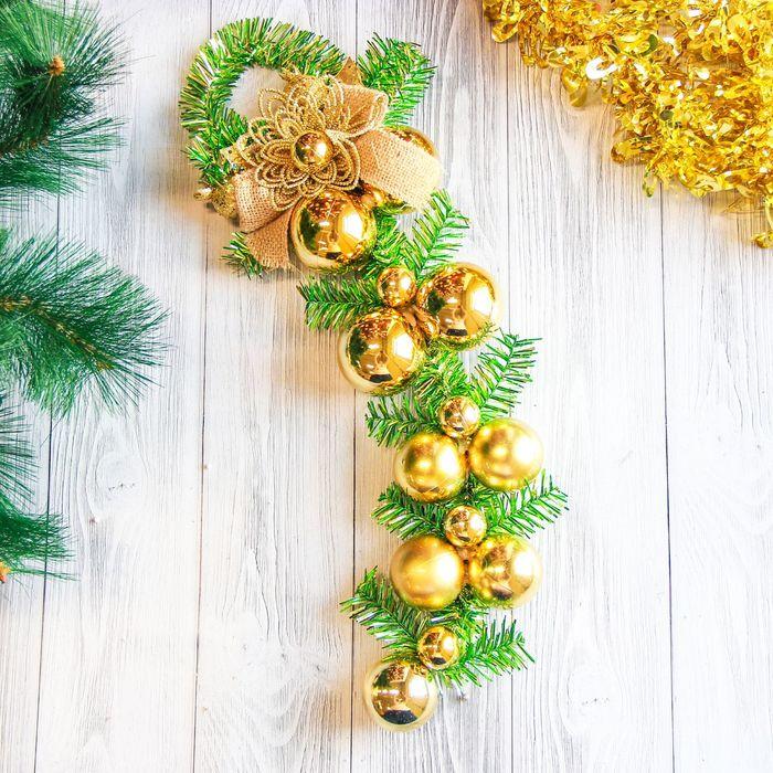 """Украшение новогоднее """"Золотые шары с веточками"""" 40 см"""