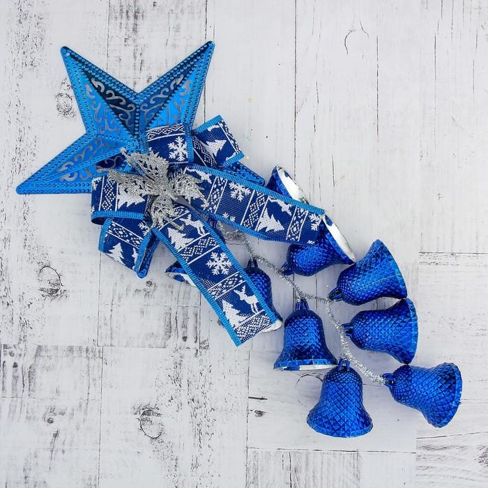 """Украшение новогоднее """"Колокольчик"""" звезда, бабочка и лента 20*44 см, синий"""