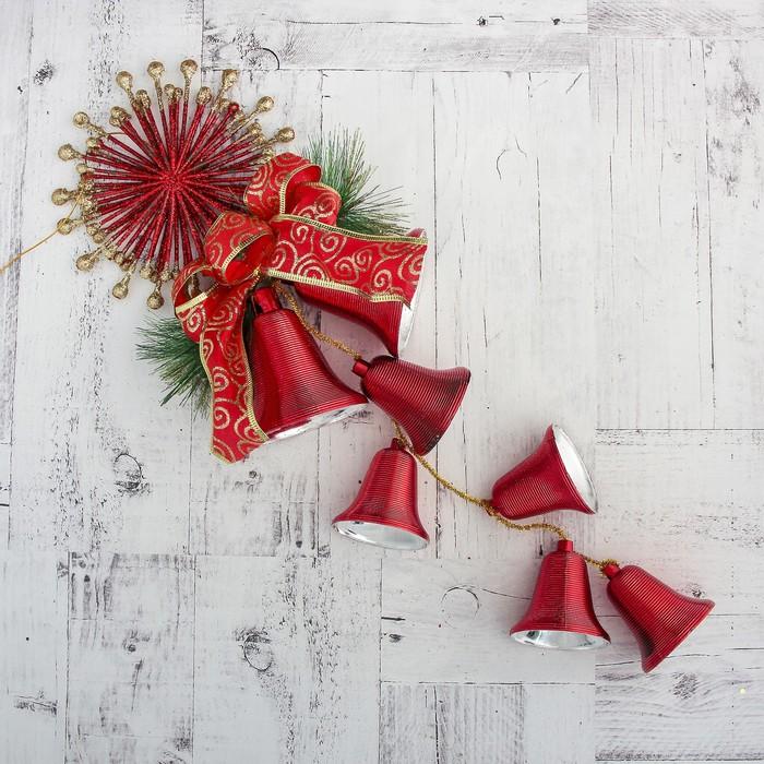 """Украшение новогоднее """"Колокольчик"""" солнце и лента 16*43 см, красный"""