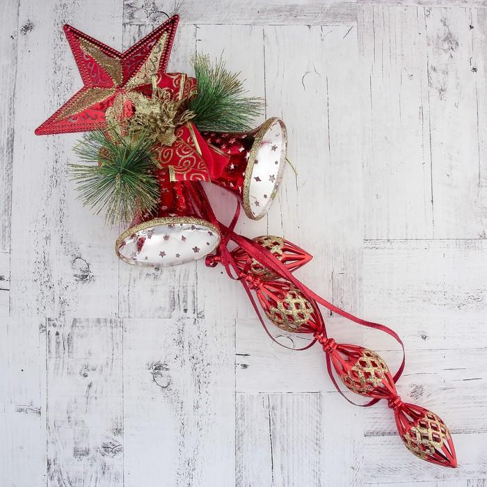 """Украшение новогоднее """"Колокольчик"""" звезда и подвесы 20*65 см, красный"""