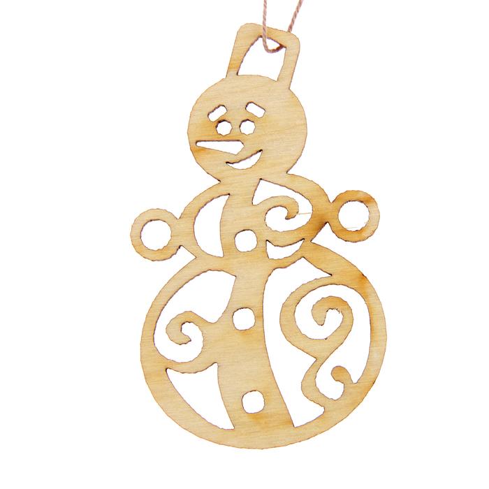 "Новогодний подвес ""Снеговик с узорами"", бежевый, 7 см + нитка"