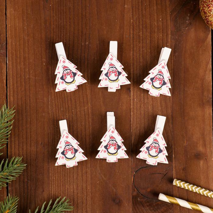 """Набор новогоднего декора на прищепке, 6 шт. """"Ёлочки с пингвинами"""""""