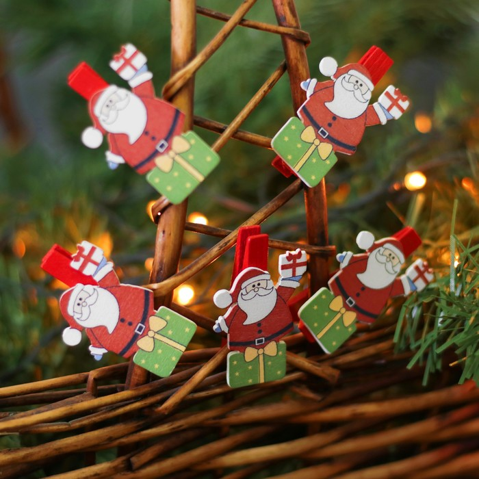 """Набор новогоднего декора на прищепке, 6 шт. """"Дед Мороз"""""""
