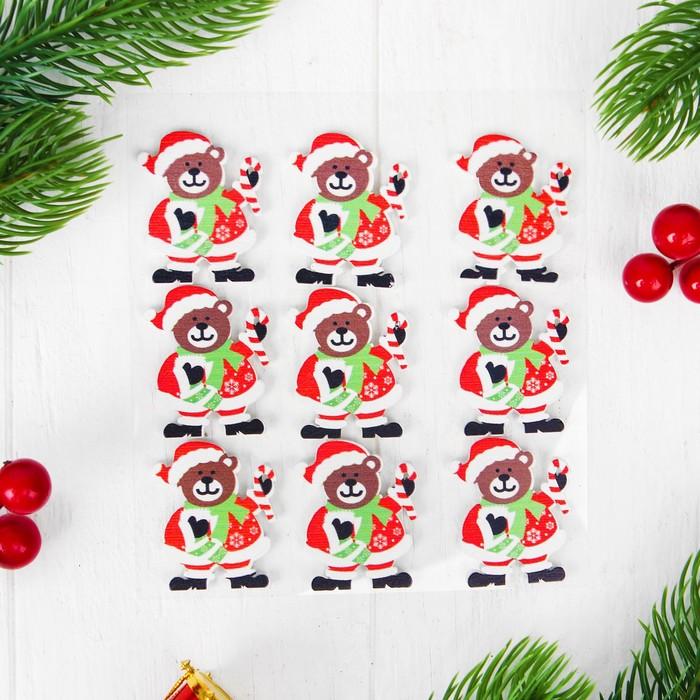 """Новогодний декор-наклейки """"Новогодний мишка"""", набор 9 шт."""