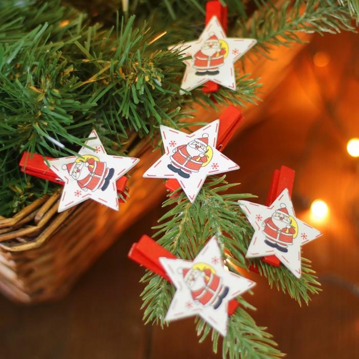 """Набор новогоднего декора на прищепке, 6 шт. """"Звёздочки с Дедом Морозом"""""""