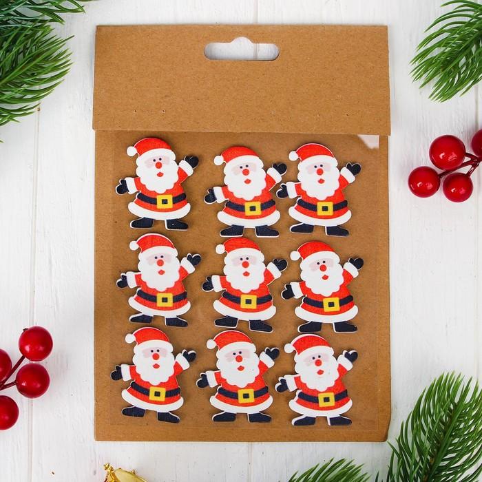 """Новогодний декор-наклейки """"Дед Мороз"""", набор 9 шт."""