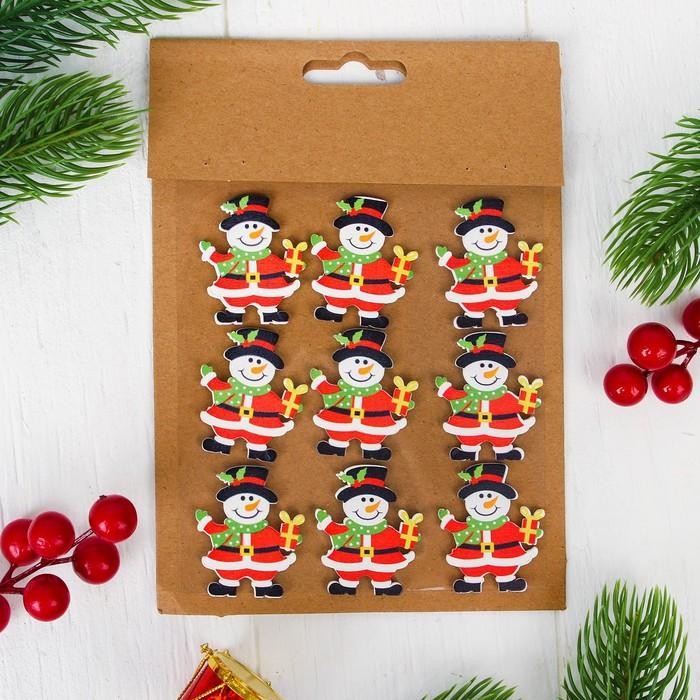 """Новогодний декор-наклейки """"Снеговик"""", набор 9 шт."""