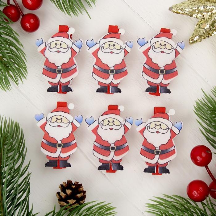 "Прищепки новогодние ""Дед мороз"", набор 6 шт."
