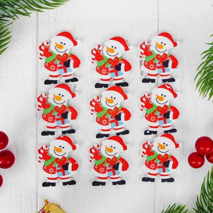 """Новогодний декор-наклейки """"Снеговик с подарочком"""", набор 9 шт."""