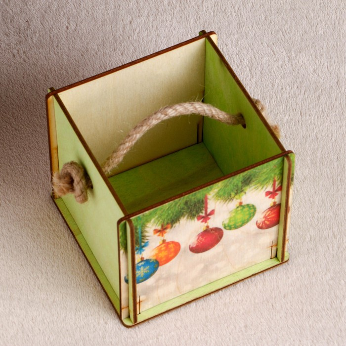"""Кашпо флористическое """"Кубик, с шариками"""", самосборное, ручка- шнур, 11,5×11,5×10,4 см"""
