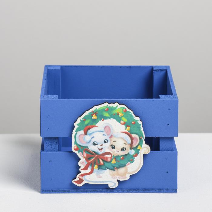 Деревянный ящик реечный «Мышки», 13 × 13 × 9 см, с декором